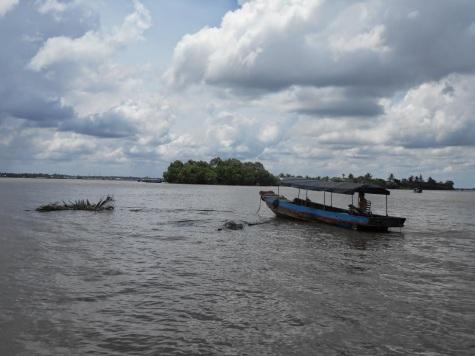 Boat on Mekong Delta in Vietnam.